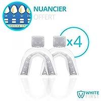 WHITE FIRST - 2 paires Gouttières thermo-déformable pour appliquer blanchiment dentaire - à tremper dans l'eau...