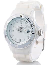 St. Leonhard Silikon Uhr: Sportliche Silikon-Quarz-Armbanduhr, Lupen-Mineralglas, strahlend-weiß (Quarzuhr)