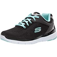 Skechers Flex Appeal 3.0-Moving Fast, Sneaker Donna, Nero (Black Engineered Mesh/Duraleather/Turquoise Trim Bktq), 36.5 EU