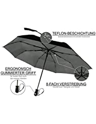 ocona© Regenschirm, Taschenschirm Reiseschirm, windproof sturmfest wasserabweisende Teflon-Beschichtung klein leicht stabil kompakt Auf-Zu-Voll-Automatik Outdoor, schwarz 100cm