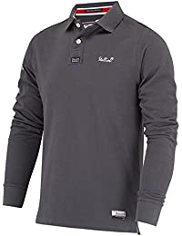 Stallion Herren Langarm Poloshirt : Golf Sport Stilvolle Slim Fit Polohemd für Männer (Farbe : Navy Blau, Weiß und Dunkelgrau/Größe : S, M, L, XL)