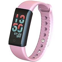 Indigi X6S Fitness Tracker pulsera inteligente pulsómetro con dinámico Colorful pantalla LED reloj inteligente salud Deporte Actividad Tracker Call alertas podómetro calorías pulsera impermeable (rosa)