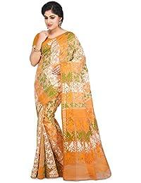 Wooden Tant Multicolored Art Silk Dhakai Jamdani Handloom Women Saree With Blouse Peice