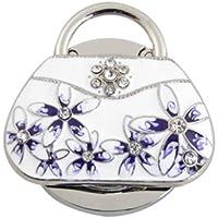 SODIAL(R) - Gancio porta borsa con fiori intarsiati e strass, bianco
