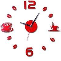 Malloom Moda DIY auto adhesivo pared Interior creativa decoración reloj de acrílico (rojo)