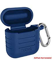 Tizum Apple AirPod Silicone-Shockproof Case Cover with Carabiner Hook (Blue)