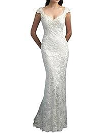 Gorgeous Bride Luxury Rundkragen Meerjungfrau Satin Spitze Lang Abendkleider  Festkleid Ballkleid 2806a85474