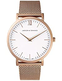 Larsson & Jennings Lugano Unisex-Adult Quartz Watch, Analogue Classic Display and Rose Gold Strap