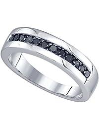 10 kt oro blanco redondos para hombre color negro banda de diamantes aniversario de bodas anillo