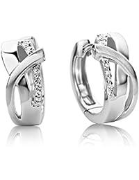 Miore Damen Creolen / Formvollendete Ring-Ohrringe aus 925 Sterling Silber mit 14 farblosen Zirkonia-Steinen / Ohrschmuck 6,5 x 16 mm
