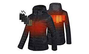 CONQUECO Damen Jacken Beheizte Daunenjacke Wasserdicht Winddicht warm Schwarz Heiz-Jacke mit Akku und Ladegerät zum Outdoor Arbeiten Tägliches Tragen