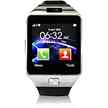 "YUNTAB® SW01 Smart Watch Bluetooth Montre de Sport Intelligente 1.54"" Écran Tactile Avec Caméra de 0,3MP Support Micro SIM carte Sync appel SMS, Notification pour Téléphone Andorid Samsung / HTC / LG / Huawei / ZTE et fonctions partielles pour IOS Apple Iphone 6/6 Plus/5/5c/5s (Noire argenté)"