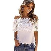 ❤️ Blusa casual de mujer, mujeres atractivas del hombro Tops casuales Blusa de encaje camisa de gasa de ganchillo ABsolute