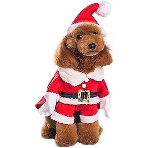 FEESHOW Ropa de Navidad del perro de perrito traje de Santa Claus