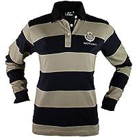 Camiseta de Rugby de Manga Larga para Dama con Escudo de Scotland and Thistle Bordado - Azul Marina / Gris, Camiseta de 100% Algodón, XXG (16-18)