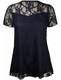 Neu Damen Blumen Spitze Kurzärmelig Damen-blume Gefüttert Muster Stretch T-Shirt Tunika Party Top Plus Größe