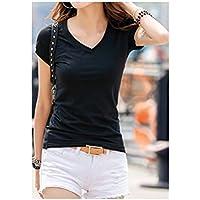 TAIDUJUEDINGYIQIE Camiseta de Manga Corta para Mujer V Collar Color sólido Delgado, Negro, XL