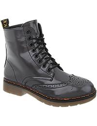 buyAzzo Damen Schnür Boots Stiefeletten   Worker Chelsea   Combat Lack  Stiefel   Blockabsatz 2 Farben 5d292b76a0