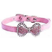 Bling Diamante de imitación Mascota Gato Perro Corbata de moño Collar Joyería Hembra Los cachorros Chihuahua Yorkie traje de la muchacha trajes (Rosado, XS)