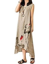 Demiawaking Femmes Robe Longue en Lin Coton Robe de Plage été sans Manche  Lâche A- 8b876ff4219b
