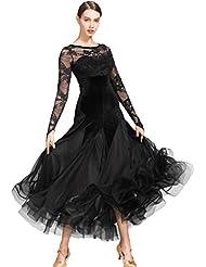 56991385ea3633 Wangmei Nationale Standard Tanzkleider für Frauen Wettbewerb Performance  Kostüm Samt Spitze Nähen Ballsaal Moderner Tango Soziales