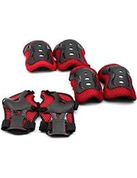 HuaYang patins à roulettes genouillères Coudières pour les enfants(Rouge)