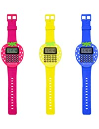 Mini reloj de pulsera digital calculadora niños estudiantes fresa estudio regalo, color rosa