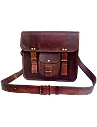 "10 X 13"" Real Brown Leather Messenger Bag Laptop MacBook Satchel Crossbody Bag By Tech Green Inc."