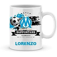 Mug de foot Marseille à personnaliser avec prénom - Cadeau personnalisé foot Marseille