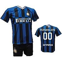 Completo Calcio Maglia Inter Personalizzabile + Pantaloncino Replica Autorizzata 2019-2020 Bambino (Taglie 2 4 6 8 10 12) Adulto (S M L XL) (8 Anni)