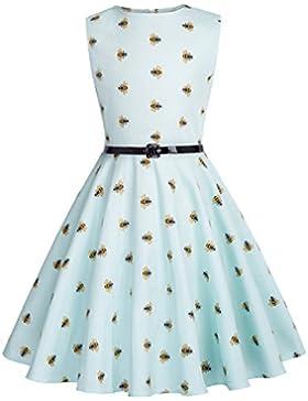 Kate Kasin Vestido Vintage Estampado de Niñas Años 50 para Fiesta Cóctel Vestido Algodón de Verano sin Mangas...