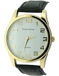 Philip Mercier SML60/A - Reloj analógico de cuarzo para hombre con correa de plástico, color negro