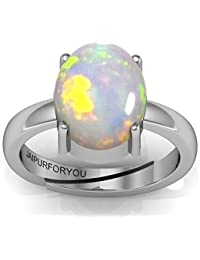 Jaipurforyou 8.40Ct. 9.25Ratti Natural Certified Ethopian Welo Opal British ADJUSTABLE Silver Ring For Women