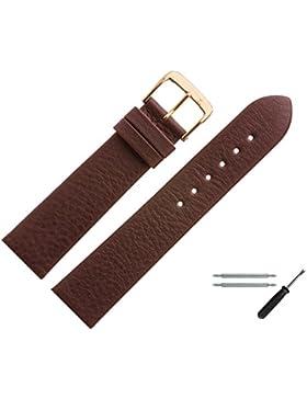 Uhrenarmband 17mm Leder Braun Matt - Inkl. Federstege / Werkzeug - MADE IN GERMANY - Ersatzband Aus Echtem Yakleder...