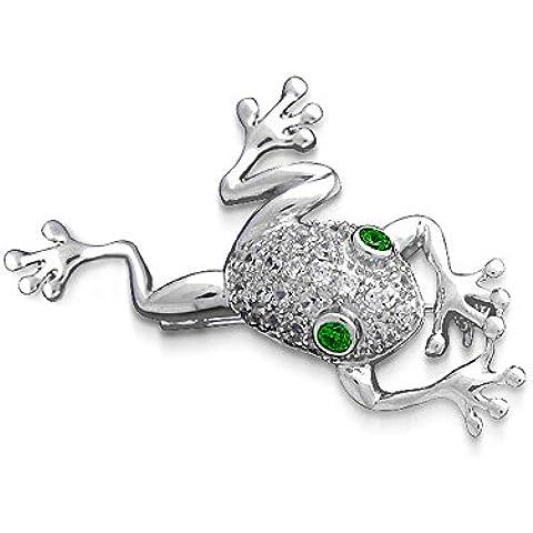 Bling Jewelry Argento 925 Rana simulato Emerald CZ Occhi Pin Spilla - Gioielli Della Rana Pin
