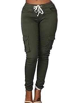 HaiDean Pantalones De Tiempo Libre Mujer Elásticos Skinny con Bolsillos Pantalones Lápiz Color Sólido con Cordón...