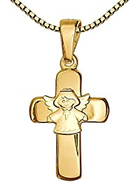 Clever Schmuck Set Goldener Anhänger Kreuz 15 mm glänzend mit aufgesetztem Kinderengel matt 333 GOLD 8 KARAT und vergoldeter Kette Venezia 42 cm im Etui