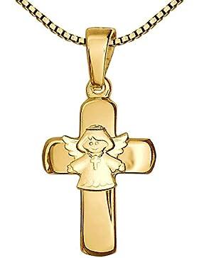 CLEVER SCHMUCK-SET Goldener Anhänger Kreuz 15 mm glänzend mit aufgesetztem Kinderengel matt 333 GOLD 8 KARAT und...