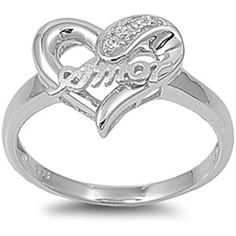 Sterling Silver forma di cuore con Amor Zirconia cubico Anello