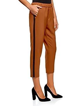 oodji Ultra Mujer Pantalones con Elástico e Inserciones