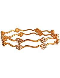 Radha's Creations Traditional White Stone Bangles With Flower Design Pattern One Gram Gold Plated Gold Covering...