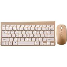 Bluetooth inalámbrico de teclado y ratón Combo, URCO Bluetooth ultra-delgado teclado portátil con Bluetooth versión 3.0 óptico del ratón para Mac OS, Windows y dispositivos Android (Oro)
