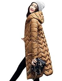 NiSeng Damen Wintermantel mit Kapuze Steppmantel Lang Slim Fit Daunenmantel  Winterjacke Parka 9885dfb443