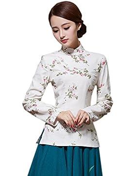 YueLian Para Mujer Disfraz Oriental Retro Blusa Estampado Camisa De Manga Larga La mejorar de Camisas