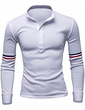 La camisa de polo V-cuello delgado de ocio, de manga larga de Hombres camiseta