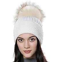 e9d29f58f86e URSFUR Chapeau Bonnet Etiquette Chaud Rayé Tressé avec PomPon pour Femme