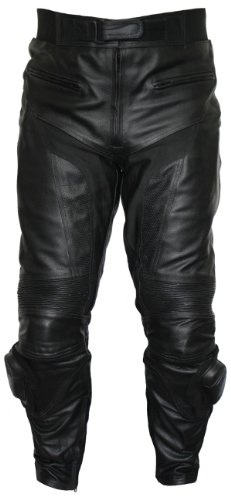 *German Wear Motorrad Biker Racing Lederhose Rindsleder, Schwarz, 48*