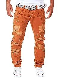 0b13143470 LuckyGirls Straight Series Hombre Pantalones Vaqueros Rotos Recto Jeans  Denim Destruida Pantalón