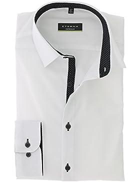 ETERNA Super Slim Langarmhemd Businesshemd Baumwolle Hemd Gr. 41 Weiß - Bügelfrei
