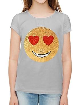 ZipZappa Paillettes, emozioni, magliette per ragazze, Smiley amore felice.